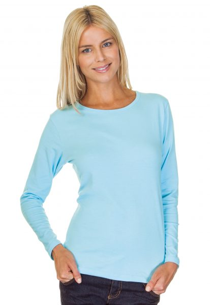Ladies Scoop Neck Cotton Spandex Long Sleeve Top