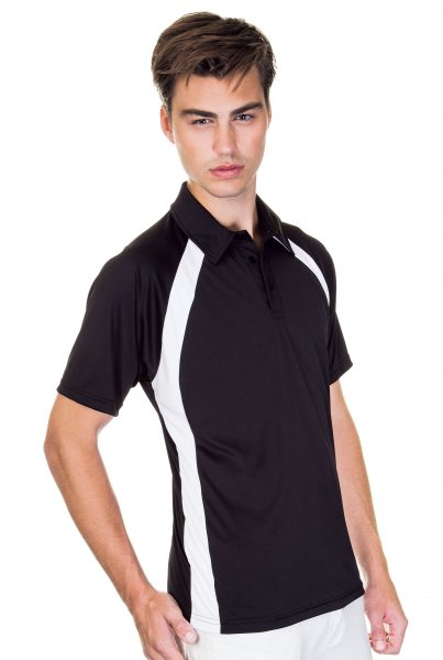 Mens Performance Interlock Colour Block Polo Shirt