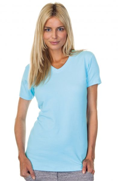 Ladies Cotton Spandex V-Neck Top