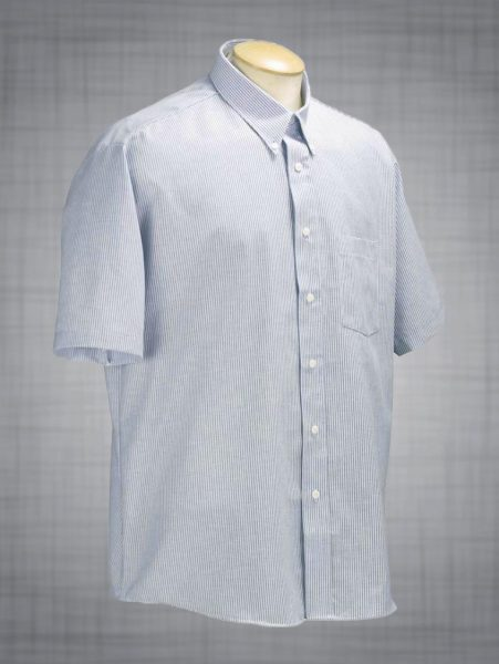 Mens Striped Short Sleeve Oxford Dress