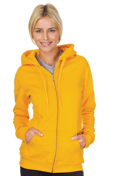 Ladies Full Zip Pre Washed Hoodie Sweatshirt